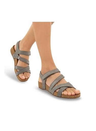 Muya Doda Anatomik Hakiki Deri Kadın Sandalet Gri
